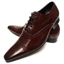 Sapato Social Masculino Marrom Bico Fino Longo Couro