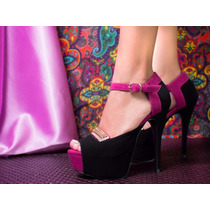 Sapato Peep Toe Feminino Nas Cores Preto E Pink Torricella