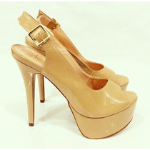 Sandália Salto Alto Fino Nude Meia Pata Marca Leluel Shoes