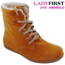 Bota Cano Curto Amarela Camurça Ladyfirst