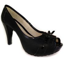 Sapato Feminino Social Preto - Salto Grosso + Frete Grátis