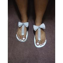 Sandálias Chinelos Havaianas Customizados Com Pérolas Strass