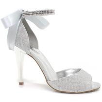 Sandália Zariff Shoes Noiva Festa Prata | Zariff