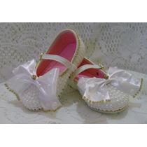 Sapato Infantil Customizado Com Pérolas Brancas... Lindo!!!!