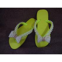 Chinelos Havaianas Sandálias Personalizadas Com Pérolas