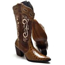 Bota Botina Feminina Texana Country Anaconda Jacare Lux Cour