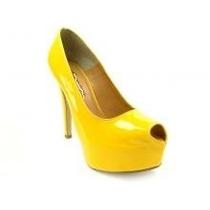 Peep Toe Amarelo C/solado Vermelho Estilo Louboutin