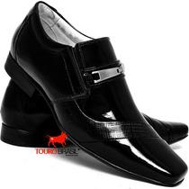 Sapato Social Masculino Couro Verniz Combina Com Terno Slim