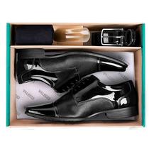 Sapato Masculino Verniz + Cinto+meia Stilo Ferracini Um Luxo
