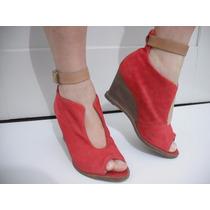 Sandalia Vermelha Tipo Anabela Bottero Tam 36 Bom Estado