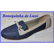 Mocassim Feminino Jeans Numeração Especial Nº43 Frete Gratis