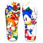 Chinelos Infantil Personalizados Tema Sonic Sega