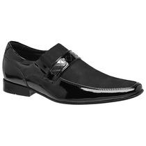 Sapato Social Verniz Com Nobuck Preto Solado Em Couro Macio
