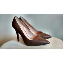 Sapato Scarpin Marrom Di Fiori Couro Tam. 38
