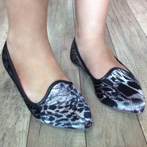 Sapatilha Slipper Bico Fino Fashion Onça Animal Print Preta