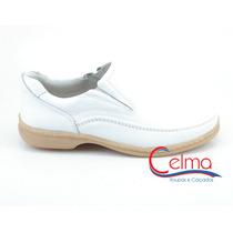 0800b Sapato Branco Para Médico, Couro Legítimo - Galmens
