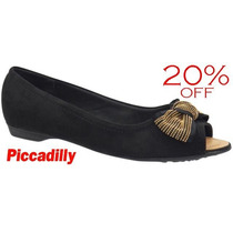 20% Off Sapatilha Piccadilly Peep Toe 707010 - Preto