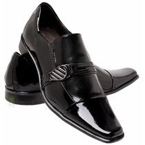 Sapatos Social Masculino Verniz Preto 100%couro Salto Baixo
