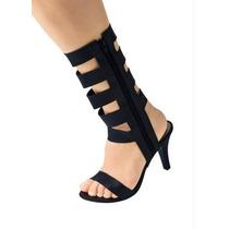 Sandália Feminina Salto Ziper Plataforma Bota Gladiadora