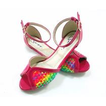 Sapatilha Ballerina Peep Toe Tricê 3d Com Verniz Pink