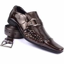 Sapato Social Masculino + Cinto Cor Topazio Cobina Com Terno
