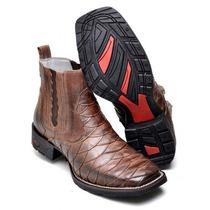 Bota Botina Country Masculina Texas Escamamda Bico Quadrado