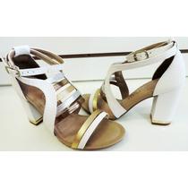 Sandália Fem Dakota Z0223 Branco/dourado Jolipé Calçados