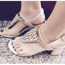 Sandalia Salto Baixo Creme Leluel Shoes Inspiração Arezzo