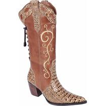 Bota Feminina Texana Country Couro Jacaré Cano Bordado Franc