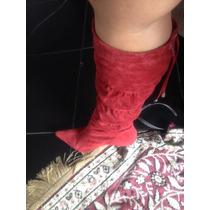 Bota Vermelha Em Couro Super Confortável E Linda