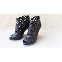 Ankle Boot Couro Ramarim Preta Recorte Laser Fashion Chic 36