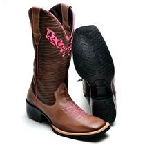 Bota Feminina Texana Country Couro 8097 Tabaco-café-pink