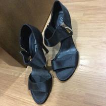 Sandália Preta City Shoes Cetim 36 Nova