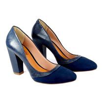 Scarpin Salto Grosso 10cm, Azul Marinho, Bico Redondo