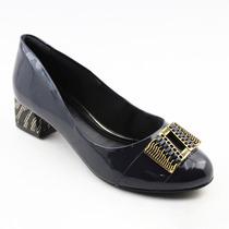 Sapato Social Salto Quadrado Baixo Ramarim Azul 583918