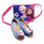 Kit Sapatilha Infantil Frozen Disney Elsa Anna Com Bolsa