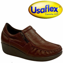 Sapato Anabela Usaflex Couro Café Conforto Duplo Zíper 5766