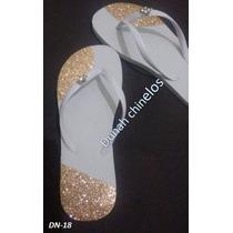 Chinelo Customizado Com Lonita Dourada E Piercing - Dn-18