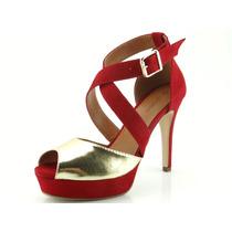 Sandália Glamm Meia Pata Tiras Fivela Vermelha Sapatos Mania
