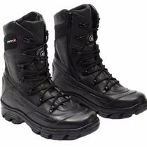Bota Coturno Semi Impermeavel, Couro, Atron Shoes Preta