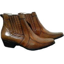 Bota Botina Couro Escamada Country Texana Montaria Hipismo