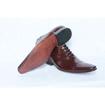 Sapato Social Masculino Classico Marrom Solado Em Couro