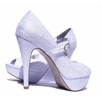 Sapato De Noiva/peep Toe Tecido Renda/casamento/ Salto10, Cm