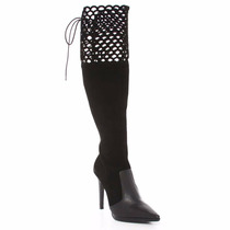 Bota Only Over The Knee Feminina Couro Nobuck Salto 507082