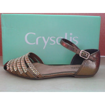 60083825 Sandalia Rasteira Crysalis Metal Bronze 34ao39