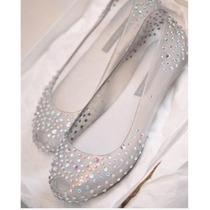 Sapatilha Swarovsky Diamond Crystal Pronta Entrega