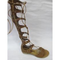 Sandália Gladiadora Cano Alto Com Ziper Linda