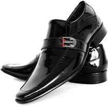Sapato Social Masculino Verniz Preto Bico Fino