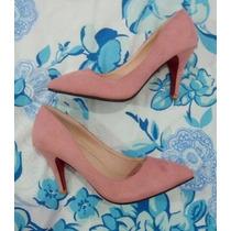 Sapato Scarpin Salto Alto, Rosa Lindo! Novo!