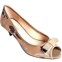 35 36 Sapato Peep Toe Via Uno Dourado Bege Cáqui Couro Laço